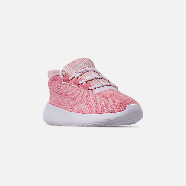 Three Quarter view of Girls' Little Kids' adidas Tubular Dusk Running Shoes in Icey Pink/Super Pop/Chalk White