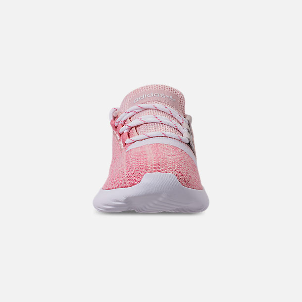Front view of Girls' Little Kids' adidas Tubular Dusk Running Shoes in Icey Pink/Super Pop/Chalk White