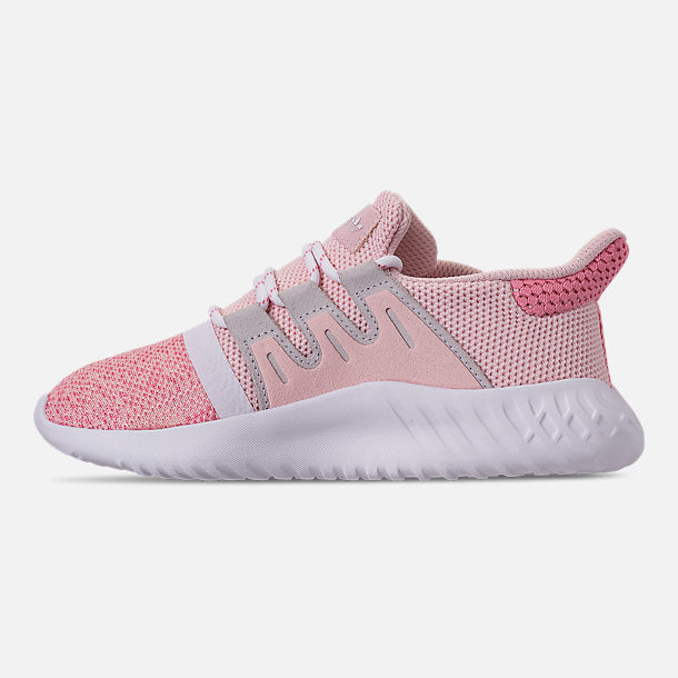 Left view of Girls' Little Kids' adidas Tubular Dusk Running Shoes in Icey Pink/Super Pop/Chalk White
