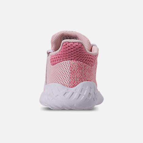 Back view of Girls' Little Kids' adidas Tubular Dusk Running Shoes in Icey Pink/Super Pop/Chalk White