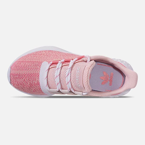 Top view of Girls' Little Kids' adidas Tubular Dusk Running Shoes in Icey Pink/Super Pop/Chalk White
