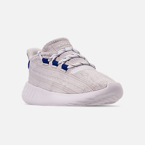 Three Quarter view of Boys' Little Kids' adidas Tubular Dusk Casual Shoes in Grey One/Footwear White/Mystery Ink