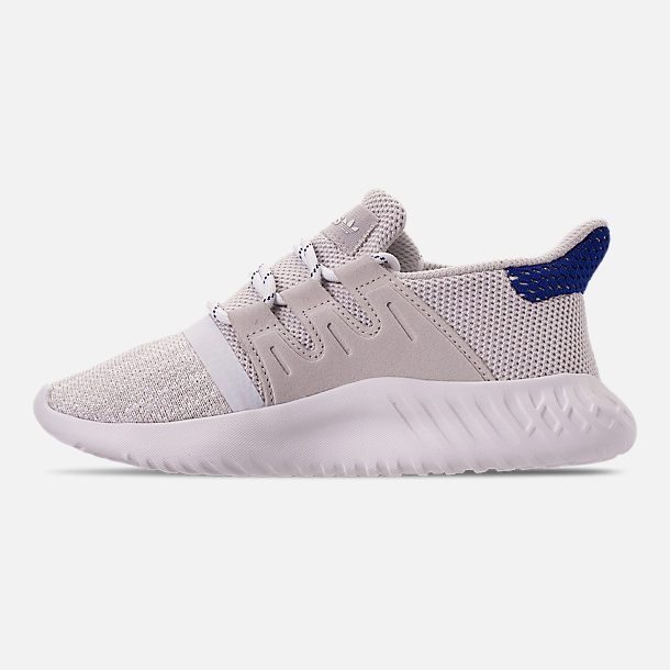 Left view of Boys' Little Kids' adidas Tubular Dusk Casual Shoes in Grey One/Footwear White/Mystery Ink
