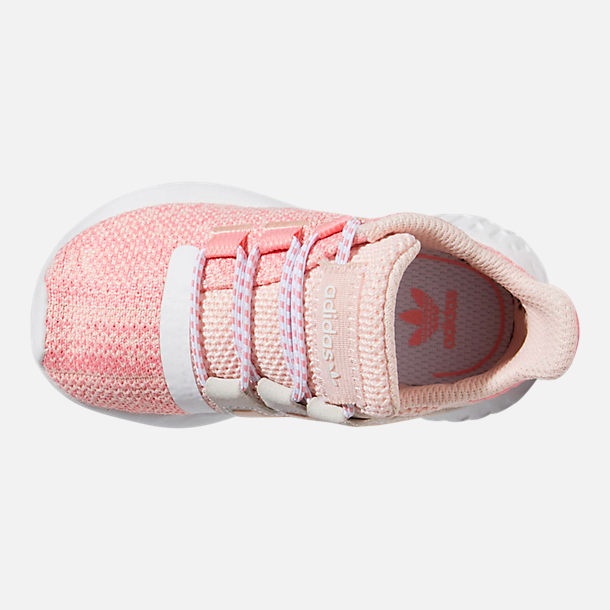 Top view of Girls' Toddler adidas Tubular Dusk Running Shoes in Icey Pink/Super Pop/Chalk White