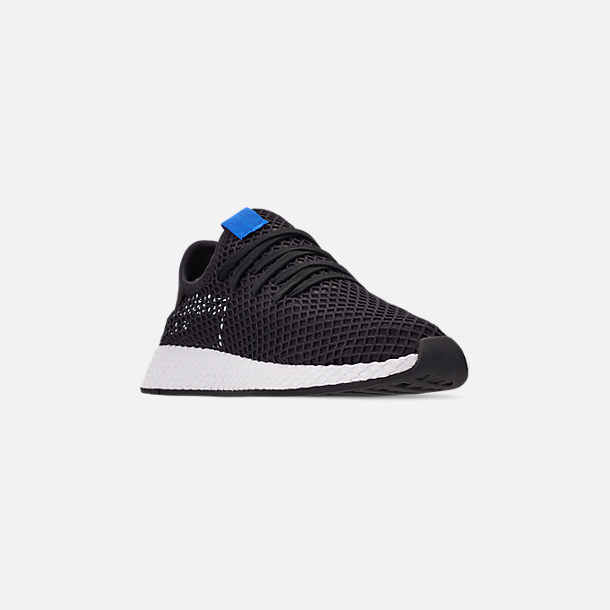Three Quarter view of Men's adidas Originals Deerupt Runner Casual Shoes in Core Black/Core Black/Bluebird