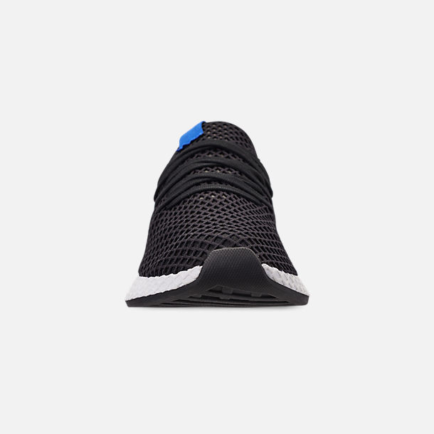Front view of Men's adidas Originals Deerupt Runner Casual Shoes in Core Black/Core Black/Bluebird