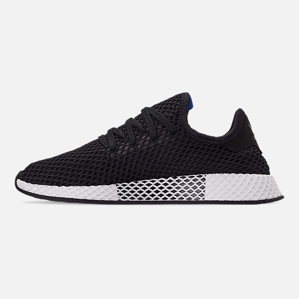 Left view of Men's adidas Originals Deerupt Runner Casual Shoes in Core Black/Core Black/Bluebird