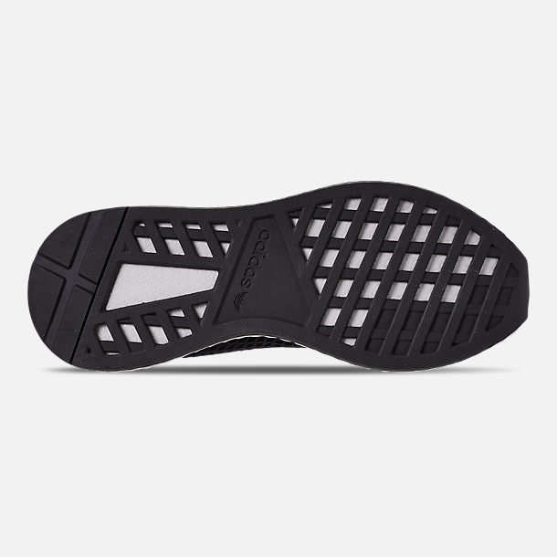 Bottom view of Men's adidas Originals Deerupt Runner Casual Shoes in Core Black/Core Black/Bluebird