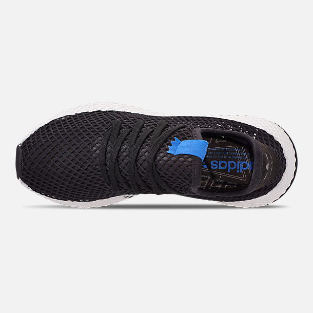 Top view of Men's adidas Originals Deerupt Runner Casual Shoes in Core Black/Core Black/Bluebird
