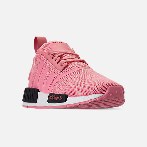 Three Quarter view of Girls' Grade School adidas NMD Runner Casual Shoes in Real Magenta/Core Black/Core Blue