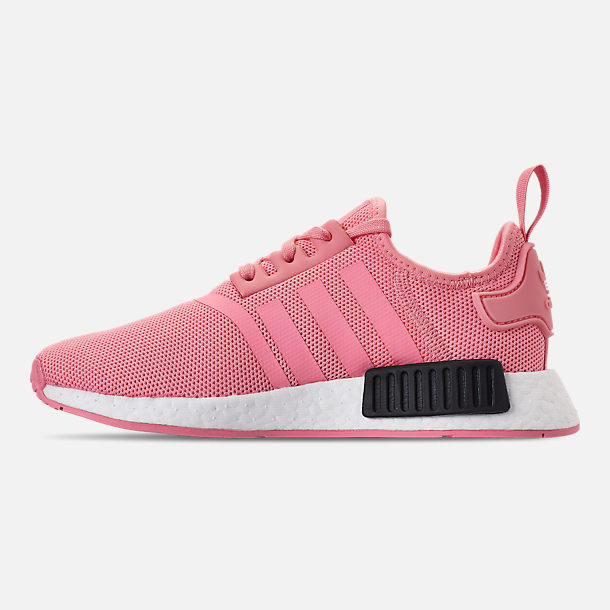 Left view of Girls' Grade School adidas NMD Runner Casual Shoes in Real Magenta/Core Black/Core Blue
