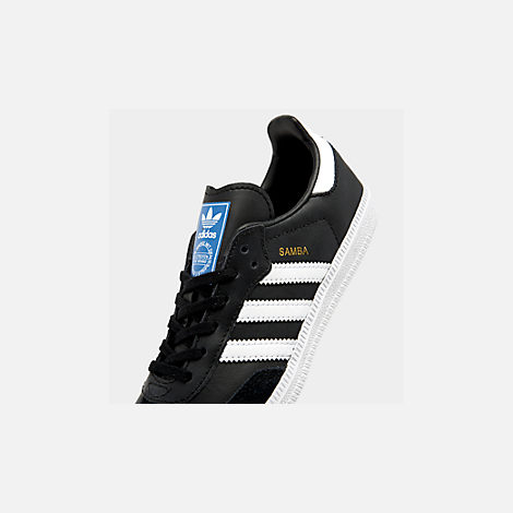 Front view of Little Kids' Samba Classic Indoor Soccer Shoes in Black/White