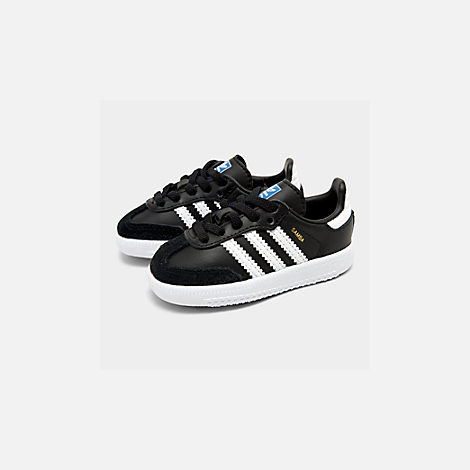 Front view of Boys' Toddler adidas Originals Samba Casual Shoes in Black/White