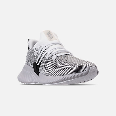 Three Quarter view of Boys' Big Kids' adidas AlphaBounce Instinct Running Shoes in Footwear White/Grey Two/Core Black