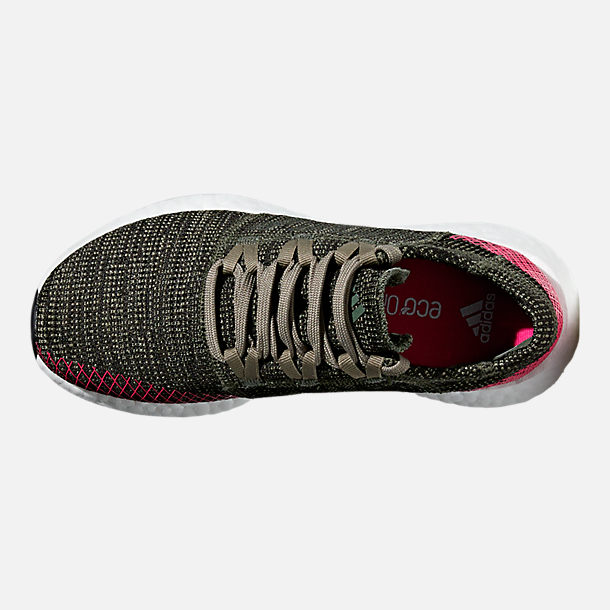 Top view of Girls' Big Kids' adidas PureBOOST GO Running Shoes in Base Green/Trace Cargo/Shock Pink