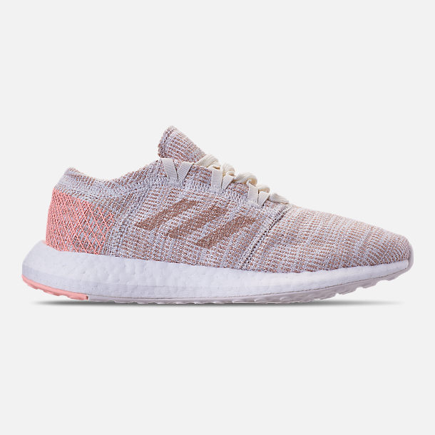 Right view of Girls' Grade School adidas PureBOOST GO Running Shoes in Cloud White/Ash Pearl/Clear Orange