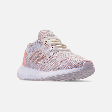 Three Quarter view of Girls' Grade School adidas PureBOOST GO Running Shoes in Cloud White/Ash Pearl/Clear Orange