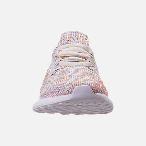 Front view of Girls' Grade School adidas PureBOOST GO Running Shoes in Cloud White/Ash Pearl/Clear Orange