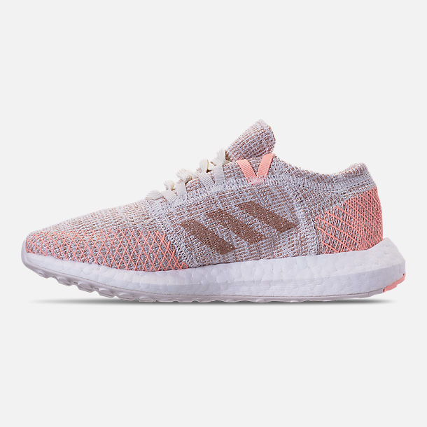 Left view of Girls' Grade School adidas PureBOOST GO Running Shoes in Cloud White/Ash Pearl/Clear Orange