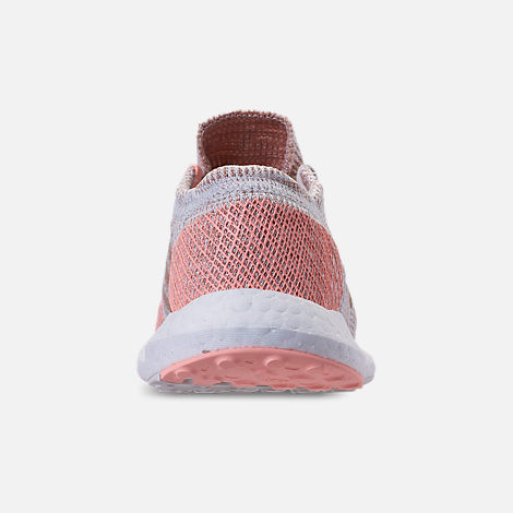 Back view of Girls' Grade School adidas PureBOOST GO Running Shoes in Cloud White/Ash Pearl/Clear Orange