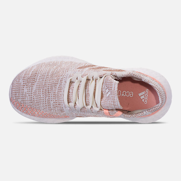 Top view of Girls' Grade School adidas PureBOOST GO Running Shoes in Cloud White/Ash Pearl/Clear Orange