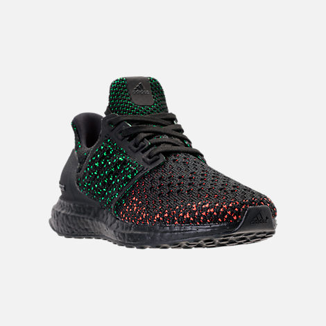 Three Quarter view of Big Kids' adidas UltraBOOST Clima Running Shoes in Core Black/Core Black/Solar Red
