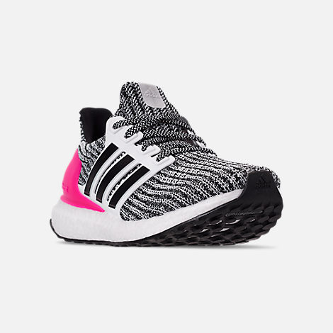 c2d1db11f093a Three Quarter view of Girls  Big Kids  adidas UltraBOOST Running Shoes in  Feather White
