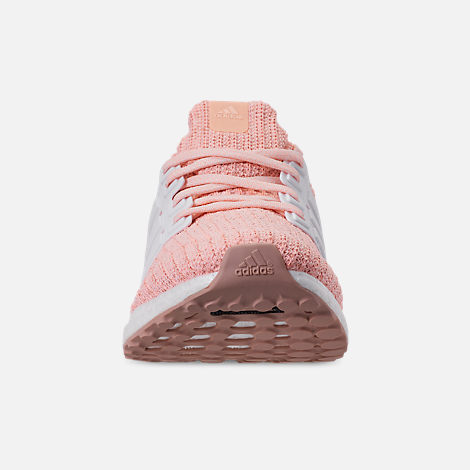 Front view of Girls' Big Kids' adidas UltraBOOST Running Shoes in Clear Orange/Cloud White