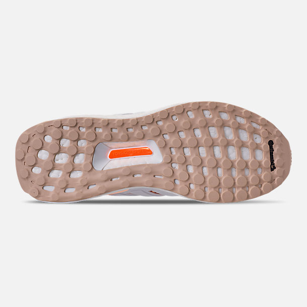 Bottom view of Girls' Big Kids' adidas UltraBOOST Running Shoes in Clear Orange/Cloud White