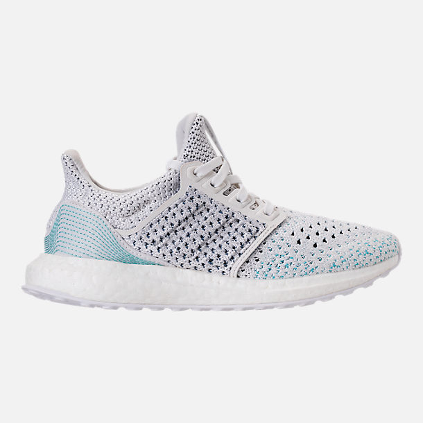 Right view of Kids' Grade School adidas UltraBOOST x Parley Running Shoes in Footwear White/Footwear White/Blue