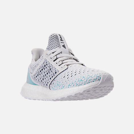 Three Quarter view of Kids' Grade School adidas UltraBOOST x Parley Running Shoes in Footwear White/Footwear White/Blue