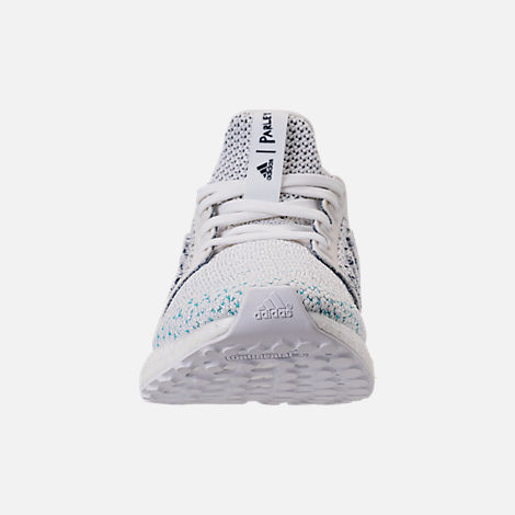 Front view of Kids' Grade School adidas UltraBOOST x Parley Running Shoes in Footwear White/Footwear White/Blue