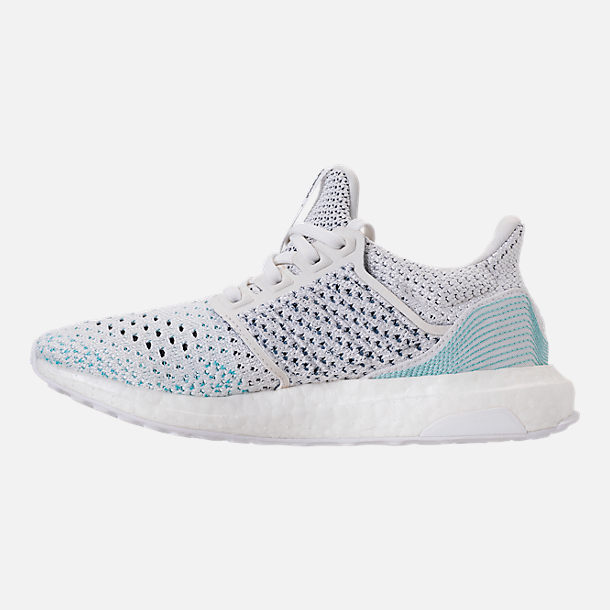 Left view of Kids' Grade School adidas UltraBOOST x Parley Running Shoes in Footwear White/Footwear White/Blue
