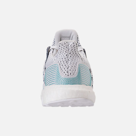 Back view of Big Kids' adidas UltraBOOST x Parley Running Shoes in Footwear White/Footwear White/Blue