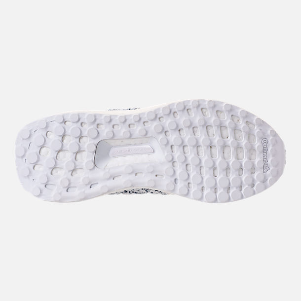 Bottom view of Big Kids' adidas UltraBOOST x Parley Running Shoes in Footwear White/Footwear White/Blue