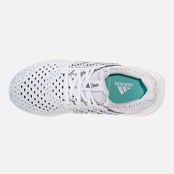 Top view of Big Kids' adidas UltraBOOST x Parley Running Shoes in Footwear White/Footwear White/Blue