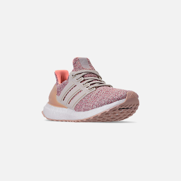Three Quarter view of Big Kids' adidas UltraBOOST 3.0 Running Shoes in Trace Maroon/Clear Brown/Chalk Coral