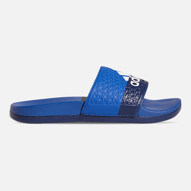 Right view of Big Kids' adidas Adilette Comfort Slide Sandals in Collegiate Royal/Cloud White/Blue