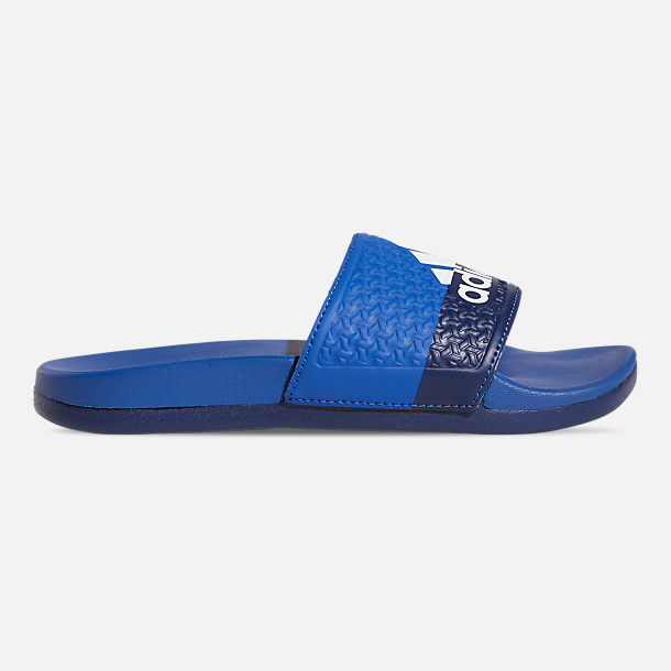 Right view of Little Kids' adidas Adilette Comfort Slide Sandals in Collegiate Royal/Cloud White/Blue