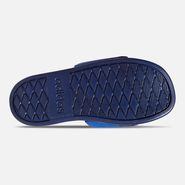 Bottom view of Little Kids' adidas Adilette Comfort Slide Sandals in Collegiate Royal/Cloud White/Blue
