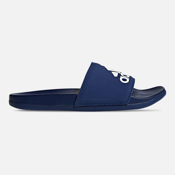 Right view of Men's adidas Adilette Cloudfoam Plus Slide Sandals in Dark Blue
