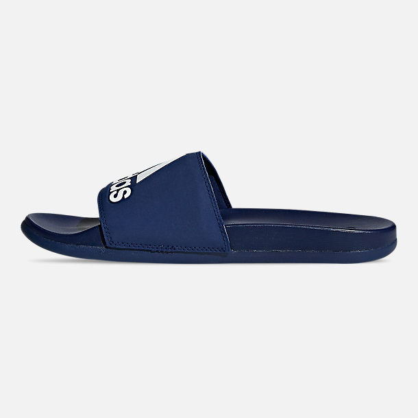 Left view of Men's adidas Adilette Cloudfoam Plus Slide Sandals in Dark Blue