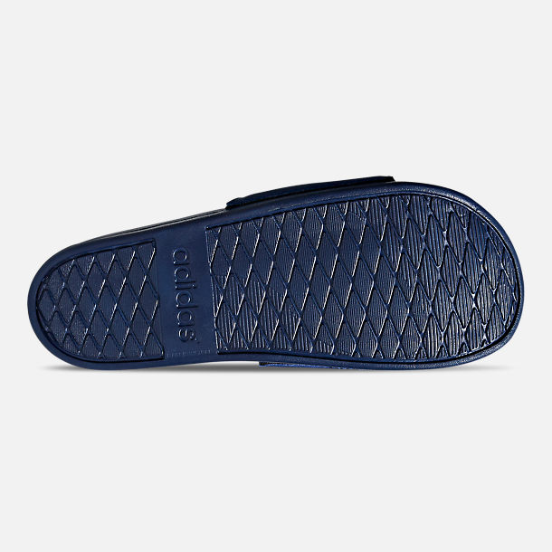 Bottom view of Men's adidas Adilette Cloudfoam Plus Slide Sandals in Dark Blue