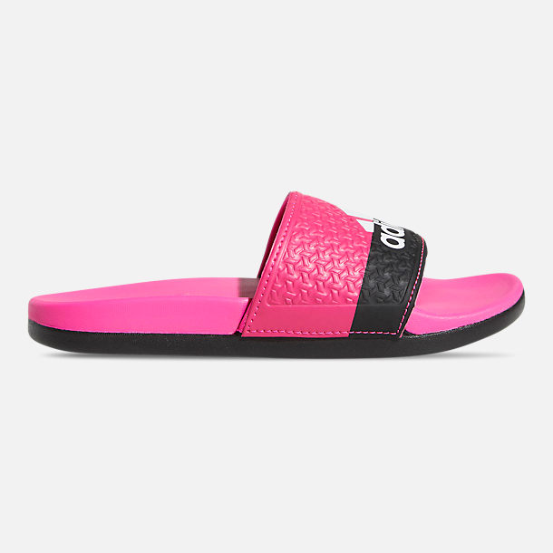 Right view of Girls' Big Kids' adidas Adilette Comfort Slide Sandals in Shock Pink/Cloud White/Core Black