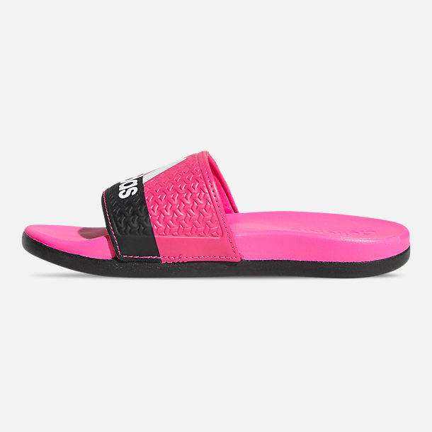 Left view of Girls' Big Kids' adidas Adilette Comfort Slide Sandals in Shock Pink/Cloud White/Core Black
