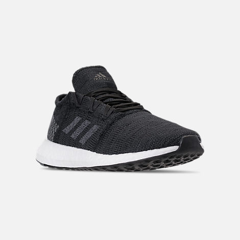 Three Quarter view of Women's adidas PureBOOST GO Running Shoes in Core Black/Grey Five/Grey Four
