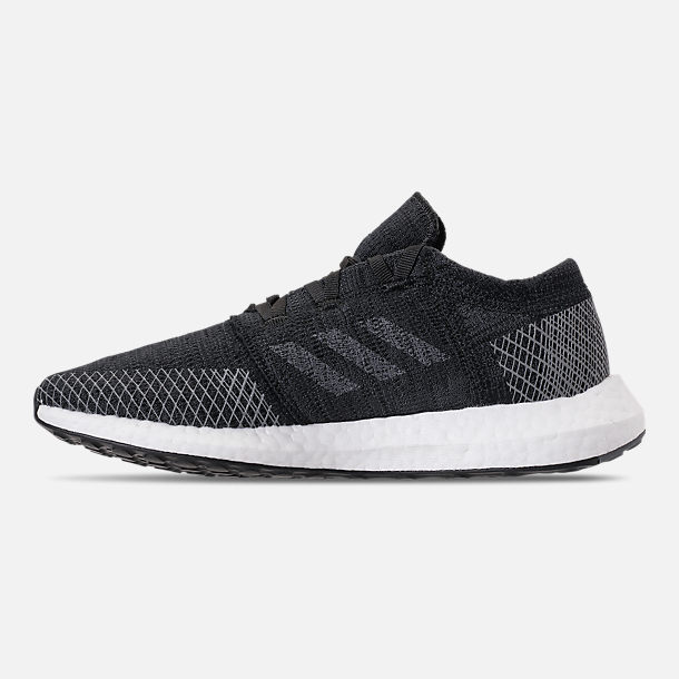 Left view of Women's adidas PureBOOST GO Running Shoes in Core Black/Grey Five/Grey Four