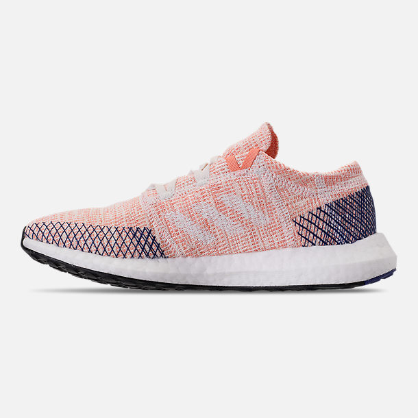 Left view of Women's adidas PureBOOST GO Running Shoes in Cloud White/White/Mystery Ink