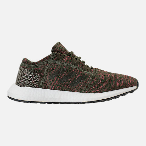 Right view of Women's adidas PureBOOST GO Running Shoes in Base Green/Night Cargo/Trace Maroon