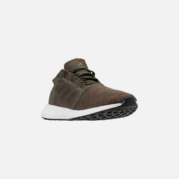 Three Quarter view of Women's adidas PureBOOST GO Running Shoes in Base Green/Night Cargo/Trace Maroon